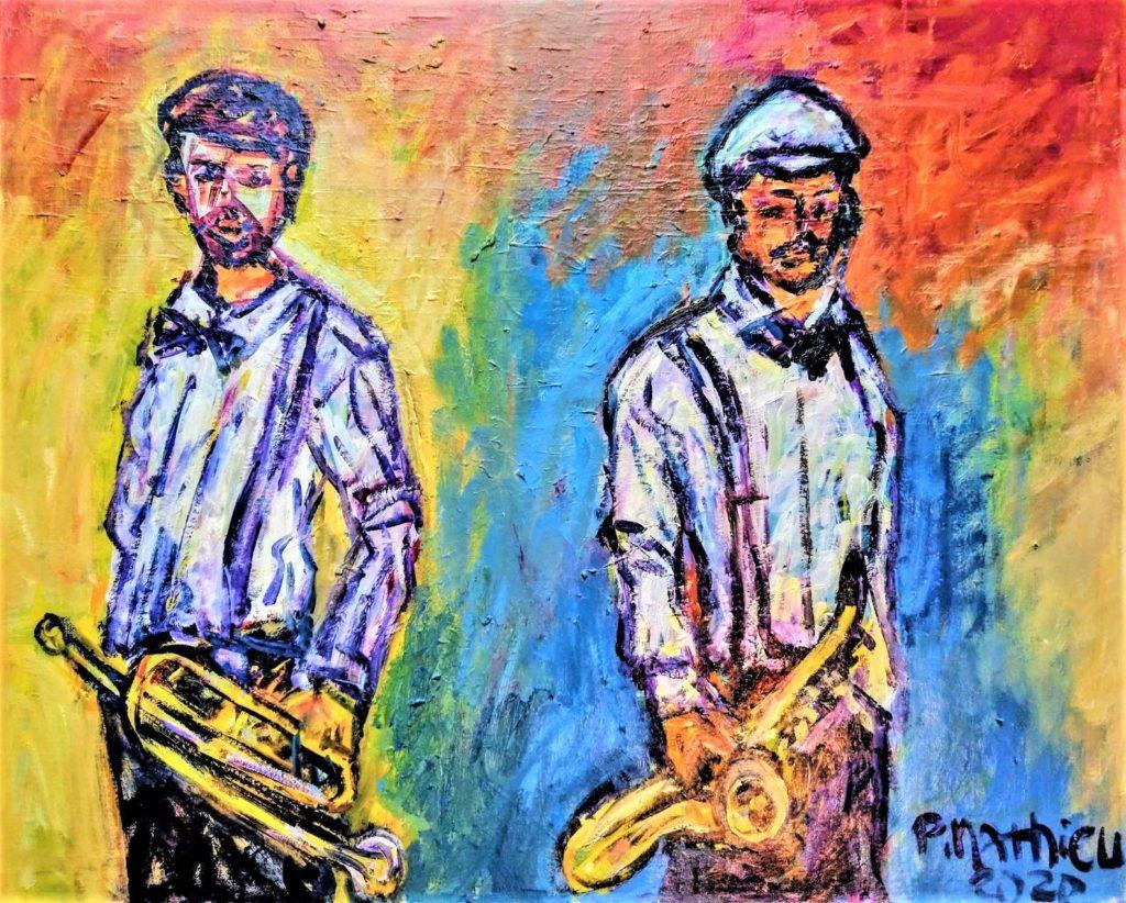 Patrick Mathieu - Artiste Peintre - Toile - Deux musiciens