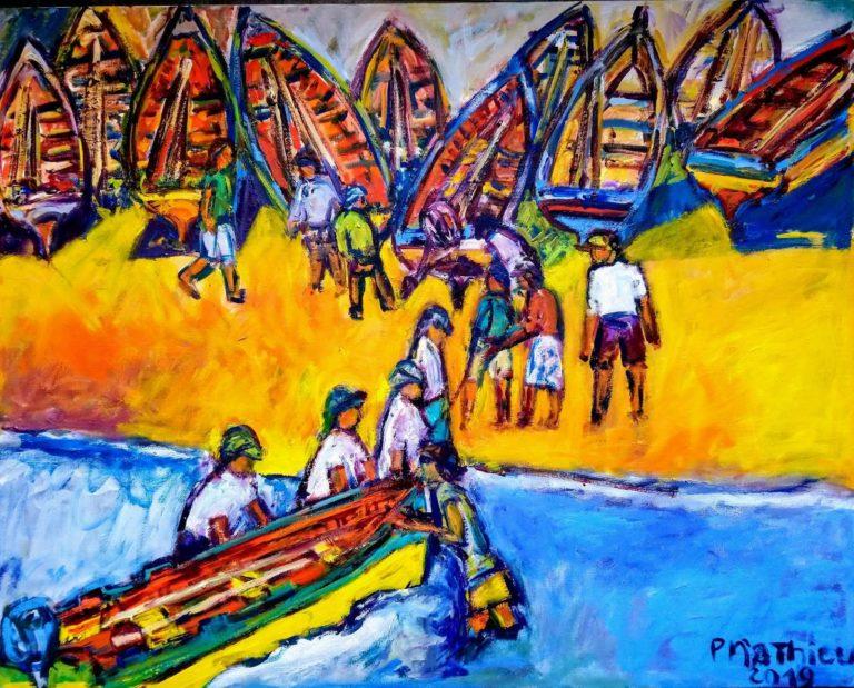 Patrick Mathieu - Artiste Peintre - Toile - Le port - Île de San Antao