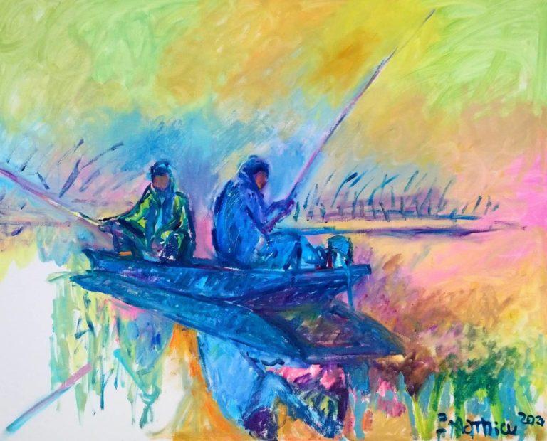 Patrick Mathieu - Artiste Peintre - Toile - Les pecheurs au petit matin - Évocation de mon père défunt sur l'Isle