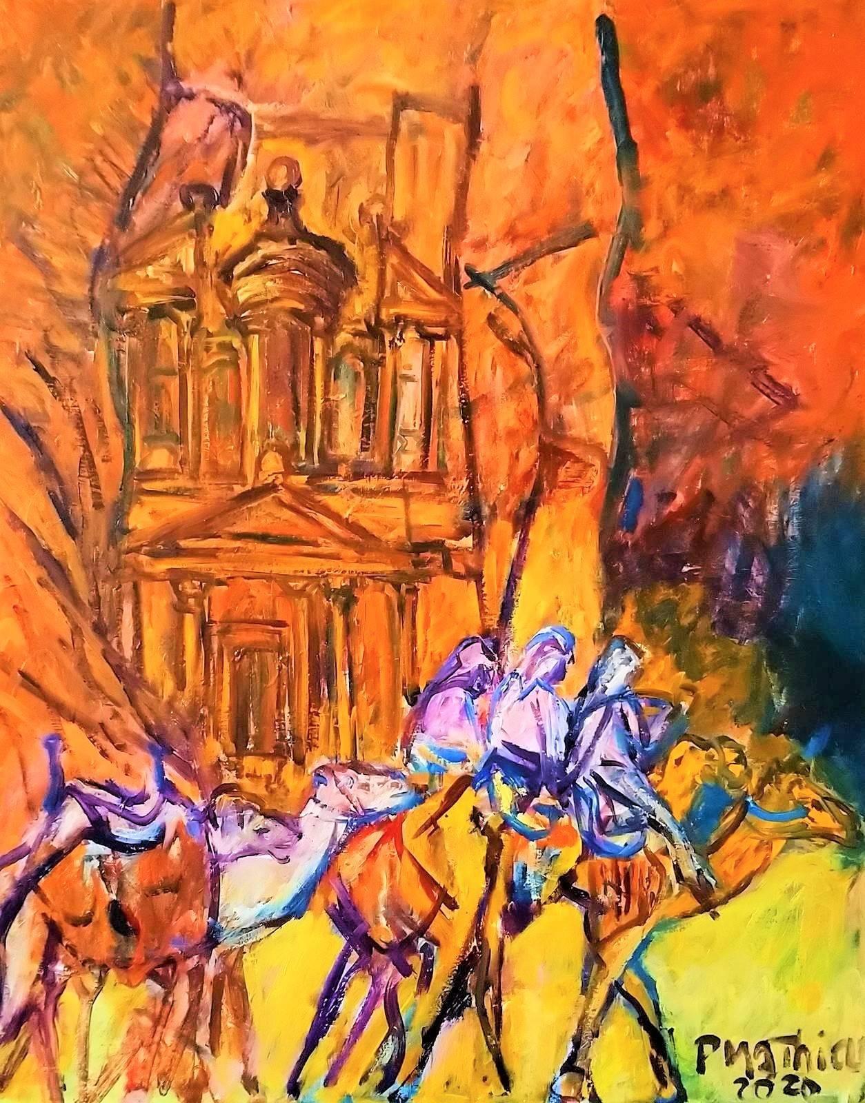 Patrick Mathieu - Artiste Peintre - Toile - Chameliers de Petra