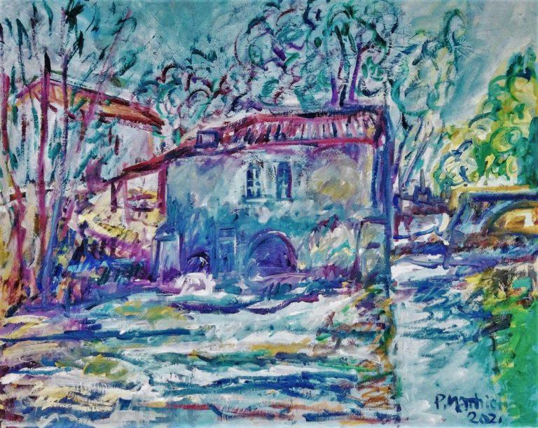 Patrick Mathieu - Artiste Peintre - Toile - Le vieux moulin sur la Saille - Bordelais