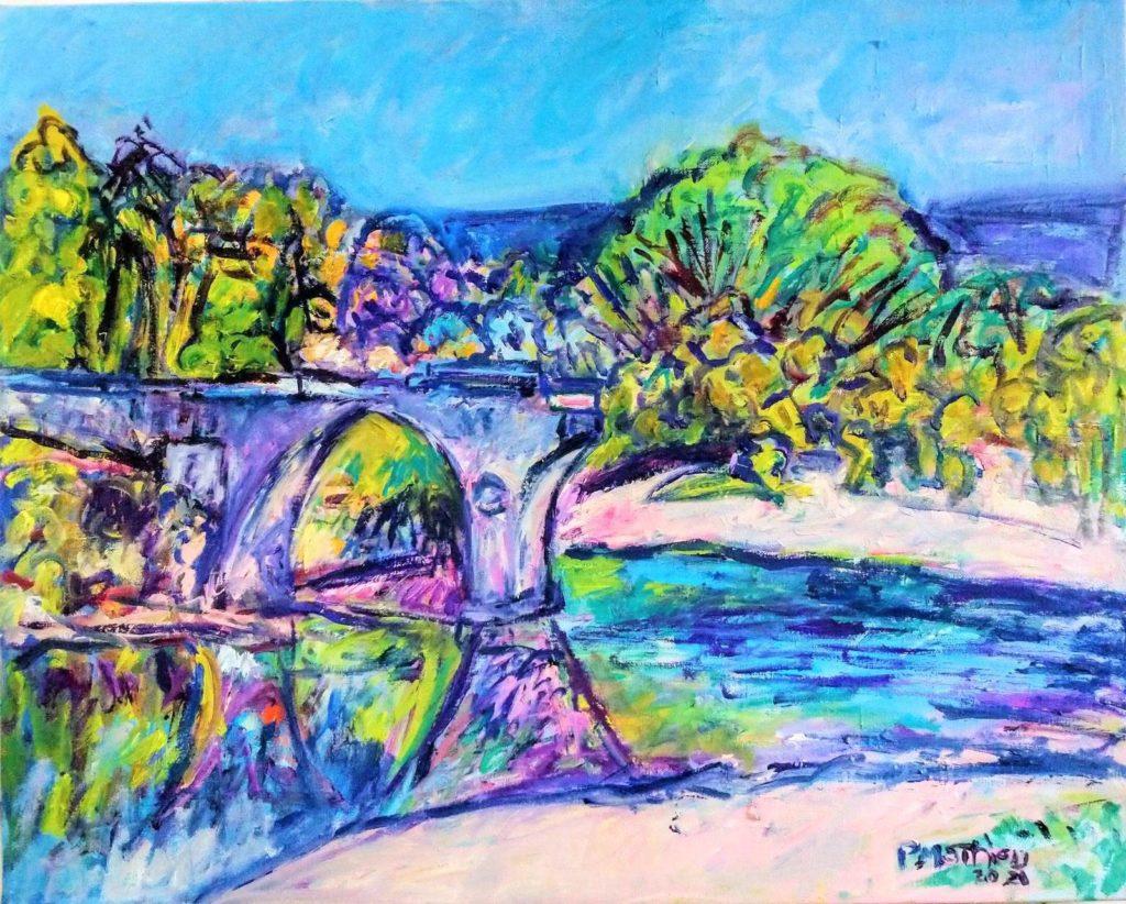 Patrick Mathieu - Artiste Peintre - Toile - Le pont rompu - Ardèche