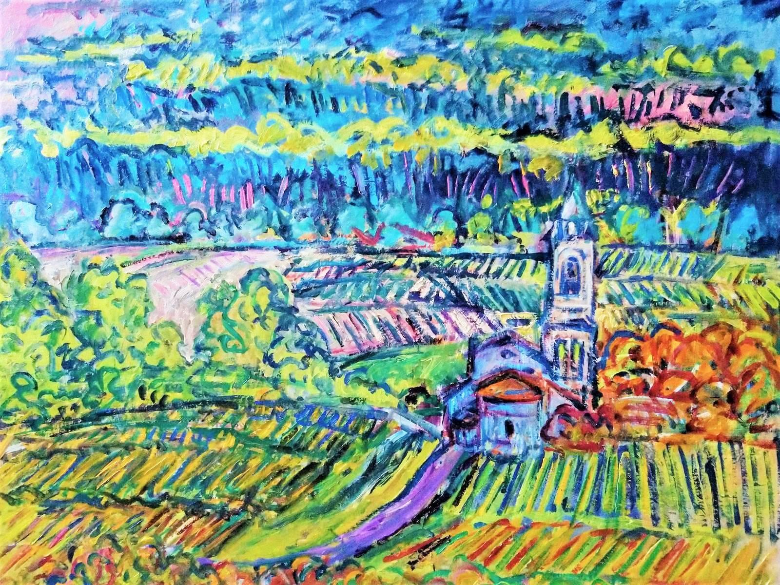 Patrick Mathieu - Artiste Peintre - Toile - Vignes du Fronsadais