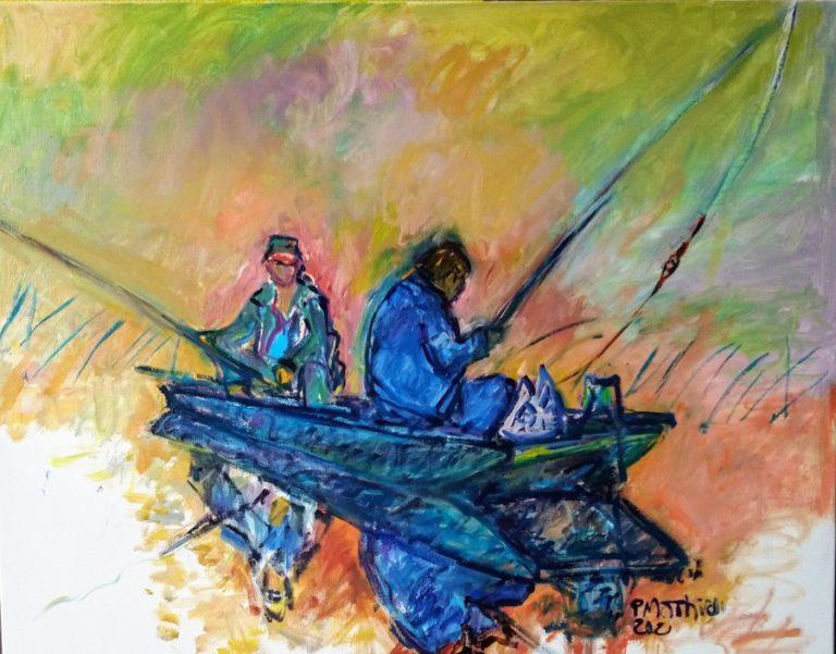 Patrick Mathieu - Artiste Peintre - Toile - Deux pêcheurs