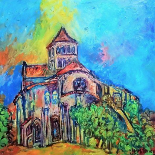 Patrick Mathieu - Artiste Peintre - Toile - L'abbaye romane - Saint-Jouin-de-Marnes